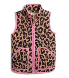 J.Crew Little Girls Leopard Print Quilted Vest