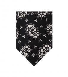 Black Floral Print Tie