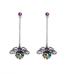 Betsey Johnson Metal Bee Wasp Bug Drop Earrings