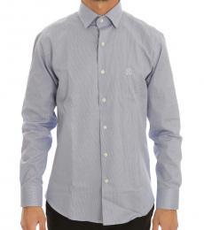 Blue Small Checkered Slim Fit Shirt