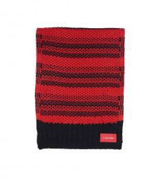 Calvin Klein Rouge Honeycomb Striped Scarf