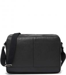 Cole Haan Black Leather Large Messenger Bag