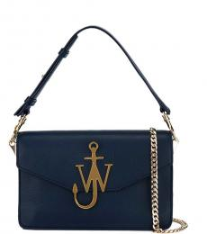 Dark Blue Logo Medium Shoulder Bag