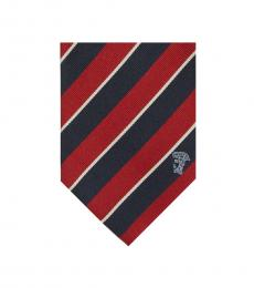 Versace Navy Red Stripe Silk Tie