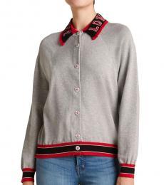 Love Moschino Grey Varsity Long Sleeve Sweater Jacket