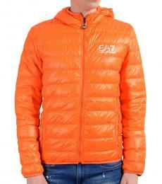 Orange Full Zip Hooded Light Parka Jacket