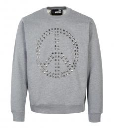 Love Moschino Grey Studded Logo Sweatshirt