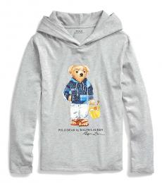 Ralph Lauren Boys Light Grey Beach Bear Hooded T-Shirt