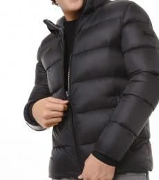 Black Quilted Nylon Hooded Puffer Jacket