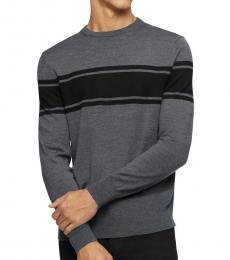 Medium Grey Colorblock Wool-Blend Sweater