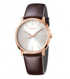 Calvin Klein Brown Posh Silver Dial Watch