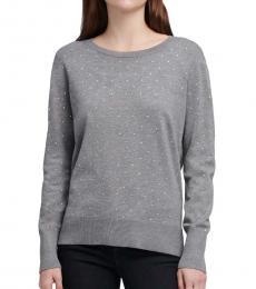 Grey Diamond-Pattern Stud Sweater