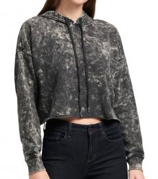 DKNY Black Cropped Acid Wash Hoodie