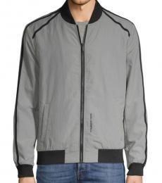 Grey Full-Zip Bomber Jacket