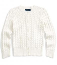 Little Girls Trophy Cream Cable-Knit Cardigan