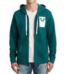 True Religion Teal Deboss Zip Up Hoodie