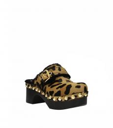 Car Shoe Leopard Print Leather Clogs
