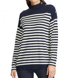 Ralph Lauren Lauren Navy Relaxed-Fit Striped Sweater