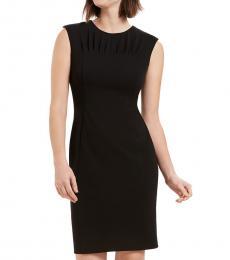 Black Pleated-Neck Sheath Dress