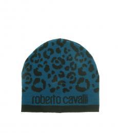 Roberto Cavalli Black-Petrol Leopard Beanie
