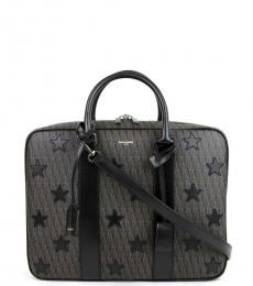Saint Laurent Black Monogram Star Large Briefcase Bag