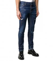 Dark Blue Skinny Fit Distressed Jeans