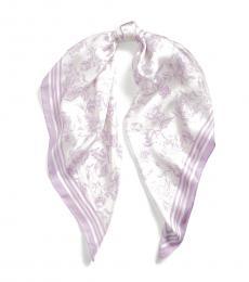 Cream-Lavender Alexa Floral Silk Scarf