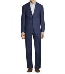 Michael Kors Blue Slim-Fit Windowpane Suit