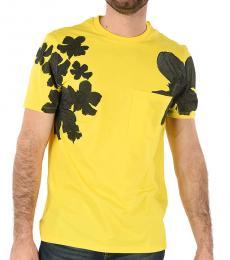 Neil Barrett Yellow Floral Printed T-Shirt
