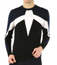 Dark Blue Classic Patterns Sweater
