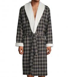 Black Kalib Lapel Plaid Robe