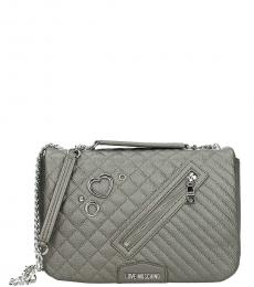Love Moschino Grey Quilted Large Shoulder Bag