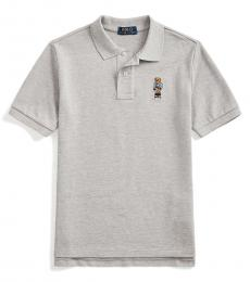 Ralph Lauren Boys Andover Heather Preppy Bear Mesh Polo