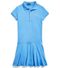 Ralph Lauren Girls Harbor Island Blue Stretch Mesh Polo Dress