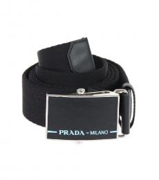 Black Logo Buckle Fabric Belt