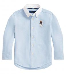 Little Boys Blue Football Bear Shirt