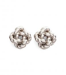 Tory Burch Silver Rope Knot Stud Earrings
