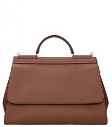 Dolce & Gabbana Brown Sicily Large Satchel