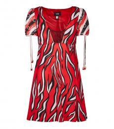 Cavalli Class Red Deep Neck Logo Dress