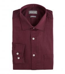 Michael Kors Purple Black Regular Fit Contrast Dress Shirt