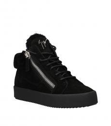 Giuseppe Zanotti Black Velvet High Top Sneakers