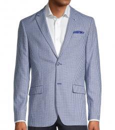 Ben Sherman Blue Standard-Fit Mini Check Coat
