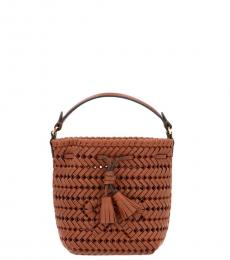 Anya Hindmarch Brown Neeson Drawstring Mini Bucket Bag