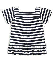J.Crew Girls Even Stripe Navy Top