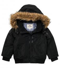 Ben Sherman Little Boys Black Faux Fur Hooded Bomber Parka Jacket