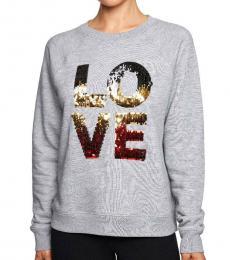 Betsey Johnson Light Grey Sequined Graphic Sweatshirt