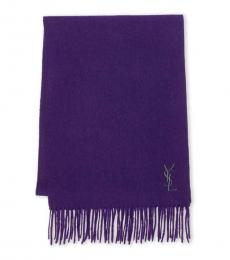 Saint Laurent Dark Purple Logo Scarf