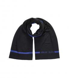 Armani Jeans Black-Blue Solid Logo Scarf