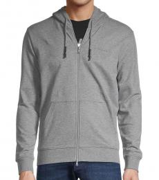 Armani Jeans Grey Stretch-Cotton Hoodie