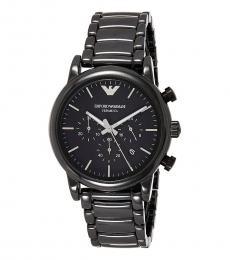Emporio Armani Black-Silver Chronograph Modish Watch